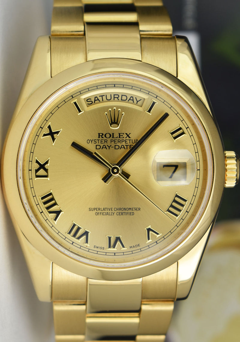 ROLEX - Mens 18kt Gold 36mm Day Date Oyster Champagne Roman 118208