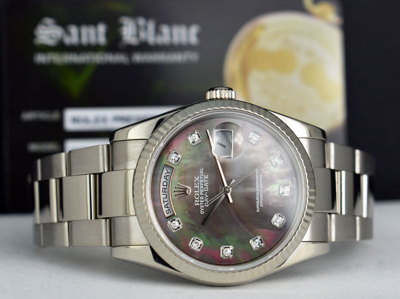 ROLEX - Mens 18kt White Gold DayDate President Oyster - Tahitian MOP DIAMOND - 118239