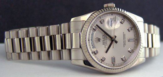 ROLEX Mens 18kt White Gold Day Date President Silver Diamond Dial Model 118239