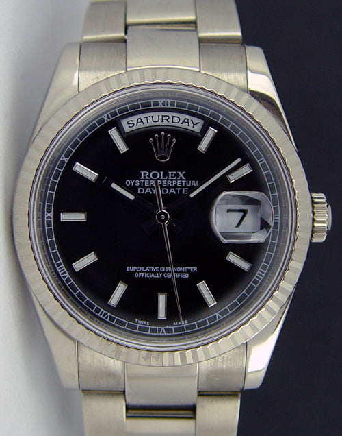 ROLEX Mens 18kt White Gold Day Date Black Index Dial Model 118239