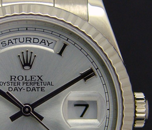 ROLEX Mens 18kt White Gold Day Date Silver Roman Dial Model 118239