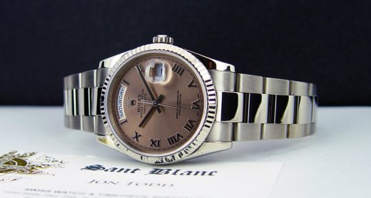 ROLEX Mens 18kt White Gold Day Date Rose Roman Dial Model 118239