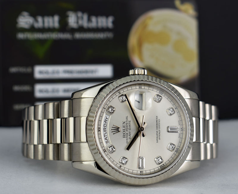 ROLEX Mens 18kt White Gold DayDate President Silver Diamond Dial Model 118239