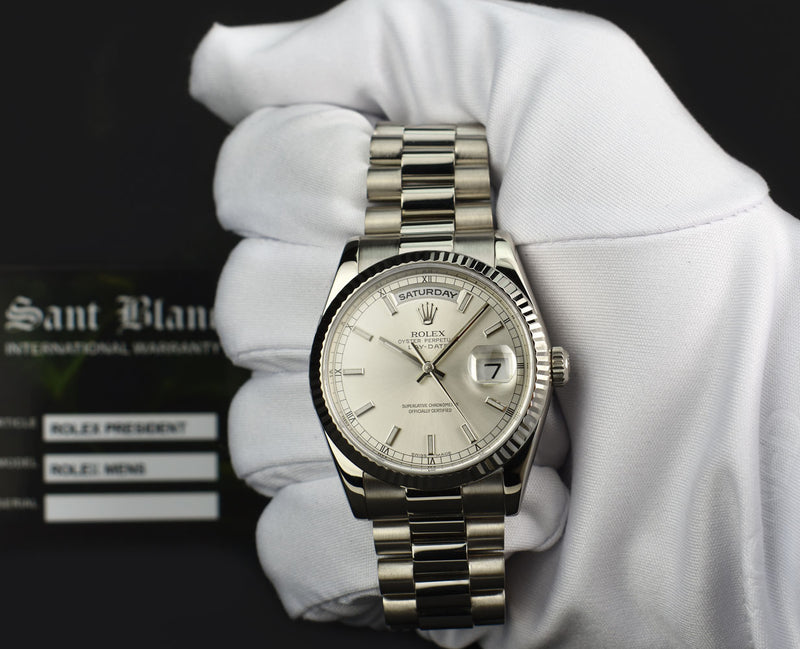 ROLEX - 18kt White Gold DayDate President - Silver Index Dial 118239