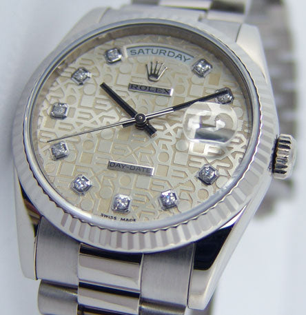 ROLEX 18kt White Gold Day Date President Ivory Jubilee Diamond Dial Model 118239
