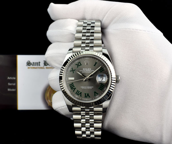 ROLEX 18kt White Gold & Stainless Steel DateJust II Slate Green Roman Dial Model 126334