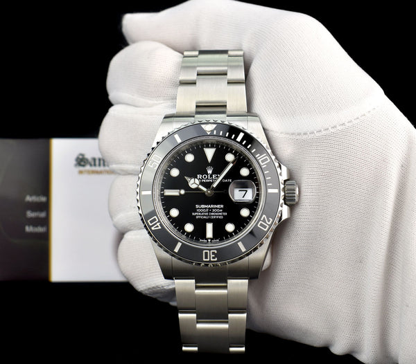 ROLEX Mens Stainless Steel Submariner Black Index Dial Ceramic Bezel Model 126610LN
