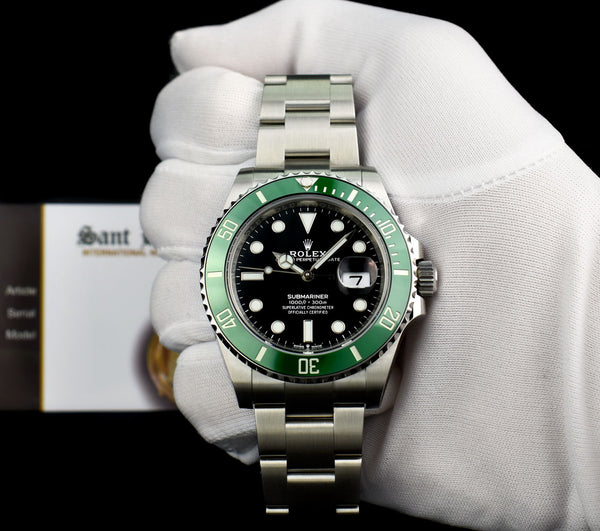 "ROLEX Stainless Steel Submariner ""Kermit"" Black Index Dial Green Ceramic Bezel Model 126610LV"