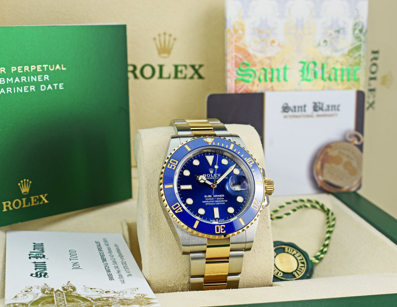 ROLEX 41mm 18kt Gold & Stainless Steel Submariner Blue Dial Model 126613LB