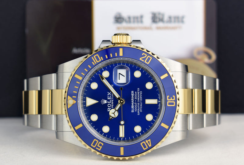 ROLEX 18kt Gold & Stainless Steel Submariner Blue Dial Box & Card Model 126613LB