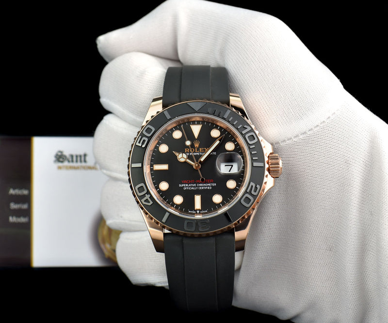 ROLEX Mens 18kt Rose Gold Yachtmaster BOX & CARD Model 126655