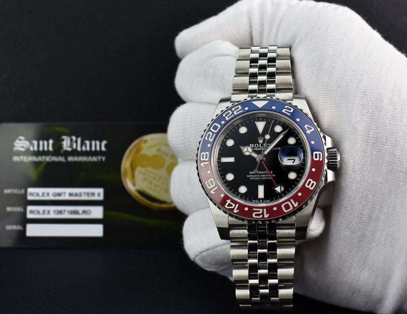 ROLEX Mens 40mm Stainless GMT Master II Black Dial PEPSI CERAMIC 126710 BLRO