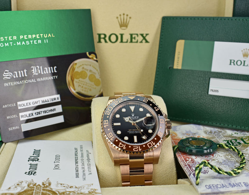 ROLEX Mens 18kt Rose Gold 40mm GMT Master II Black Model 126715