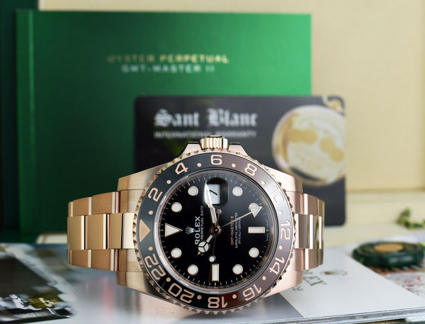 ROLEX - Mens 18kt Rose Gold 40mm GMT Master II Black 126715