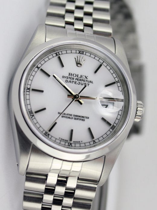 ROLEX Men's 36mm Stainless Steel Datejust White Stick Dial Model 16200