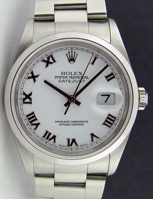 ROLEX Men's 36mm Stainless Steel Datejust White Roman Dial Model 16200