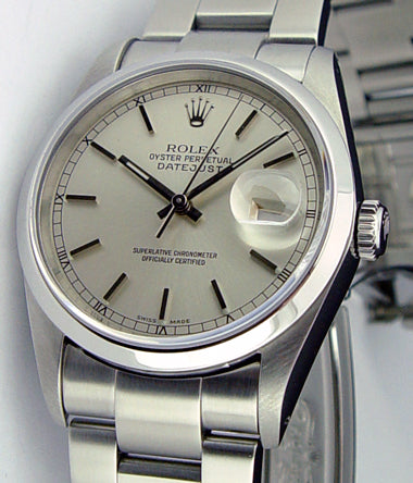 ROLEX Men's 36mm Stainless Steel Datejust Silver Stick Dial Model 16200