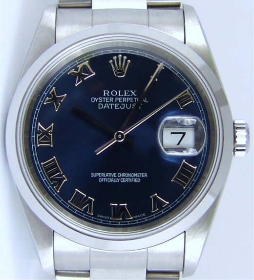 ROLEX Men's 36mm Stainless Steel Datejust Blue Roman Dial Model 16200