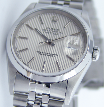 ROLEX 36mm Stainless Steel Datejust Jubilee Band Silver Tapestry Stick Dial Model 16200