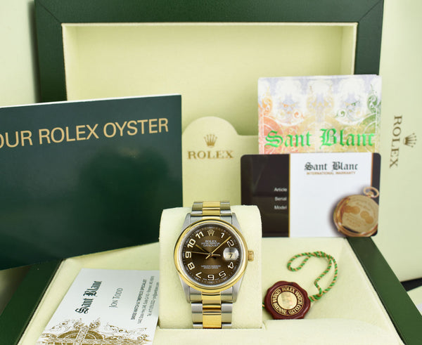 ROLEX 18kt Gold & Stainless Steel DateJust Chocolate Arabic Dial Oyster Band Model 16203