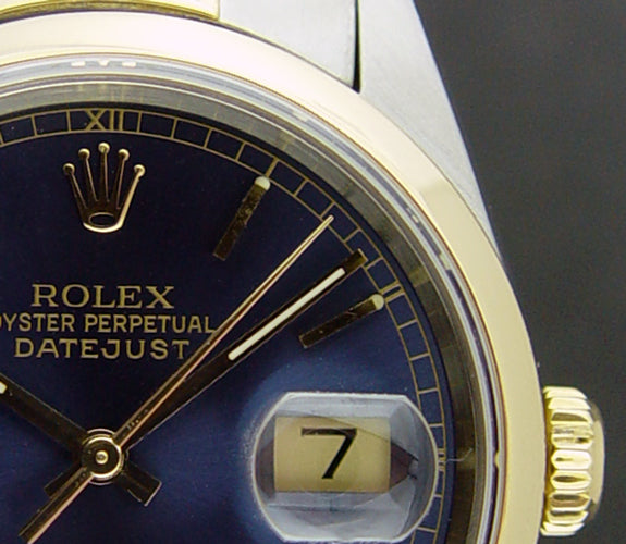 ROLEX 18kt Gold & Stainless Steel DateJust Blue Stick Dial Model 16203