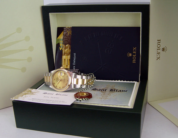 ROLEX 18kt Gold & Stainless Steel DateJust Champagne Roman Dial Model 16203
