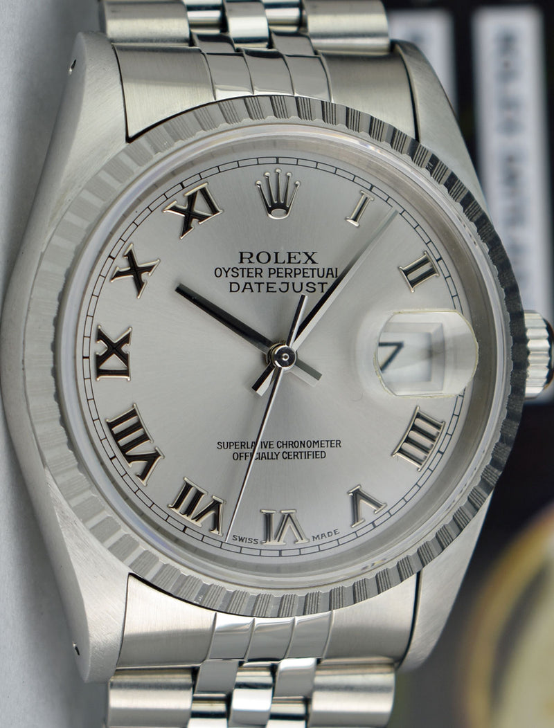 ROLEX - Mens 36mm Stainless Steel Datejust Jubilee Band - Silver Roman - 16220