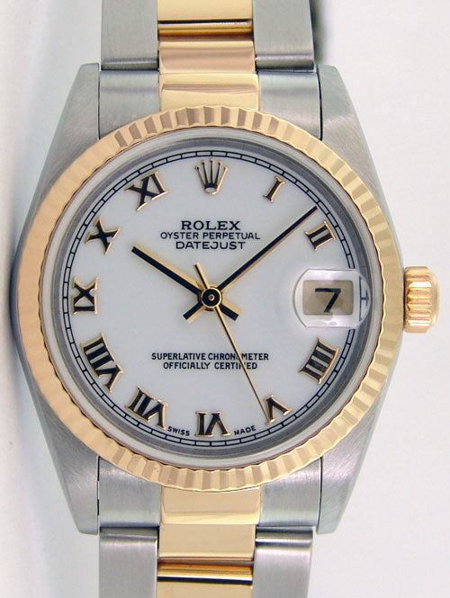 ROLEX 36mm 18kt Gold & Stainless DateJust White Roman Dial Oyster Band 16233