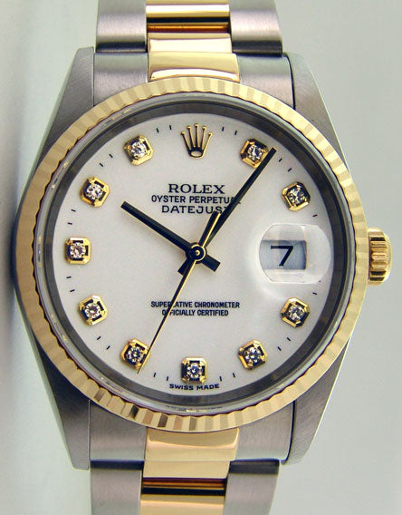 ROLEX 36mm 18kt Gold & Stainless DateJust White DIAMOND Dial Oyster Band 16233