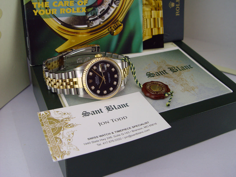 ROLEX 36mm 18kt Gold & Stainless DateJust Black Diamond Dial Jubilee Band Model 16233