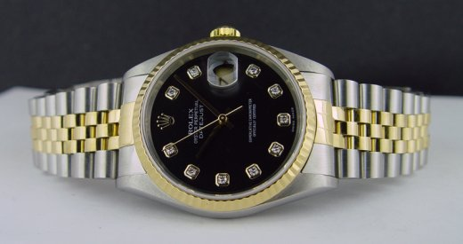 ROLEX Mens 18kt Gold & Stainless DateJust Black DIAMOND Dial Jubilee Band 16233