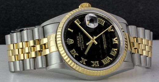 ROLEX 36mm 18kt Gold & Stainless DateJust Black Pyramid Roman Dial Jubilee Band 16233