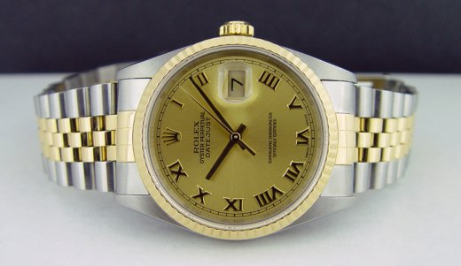ROLEX 36mm 18kt Gold & Stainless DateJust Champagne Roman Dial Jubilee Band 16233