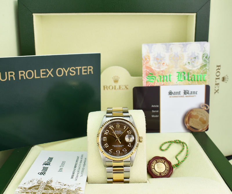 ROLEX 36mm 18kt Gold & Stainless DateJust Chocolate Arabic Dial Oyster Band Model 16233