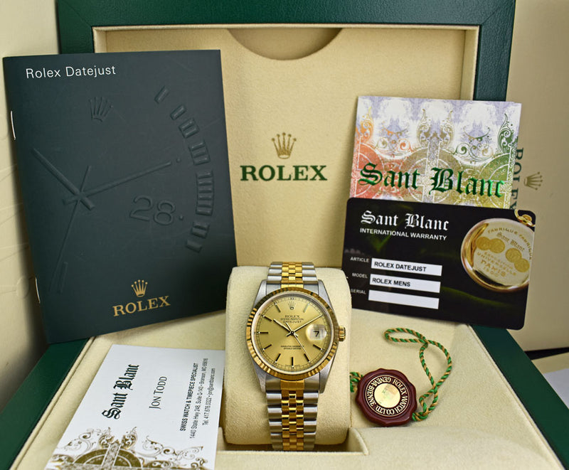 ROLEX Mens 36mm 18kt Gold & Stainless DateJust Jubilee Band Champagne Stick 16233