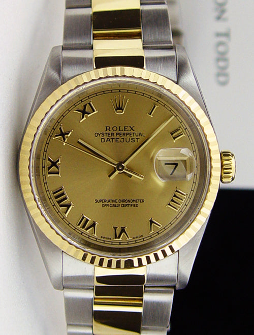 ROLEX 36mm 18kt Gold & Stainless Steel DateJust Champagne Roman Dial Oyster Band Model 16233