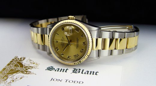 ROLEX 36mm 18kt Gold & Stainless DateJust Champagne Roman Dial Oyster Band 16233