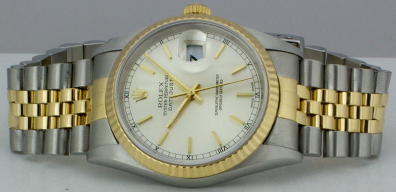 ROLEX 36mm 18kt Gold & Stainless Steel DateJust White Stick Dial Jubilee Band 16233