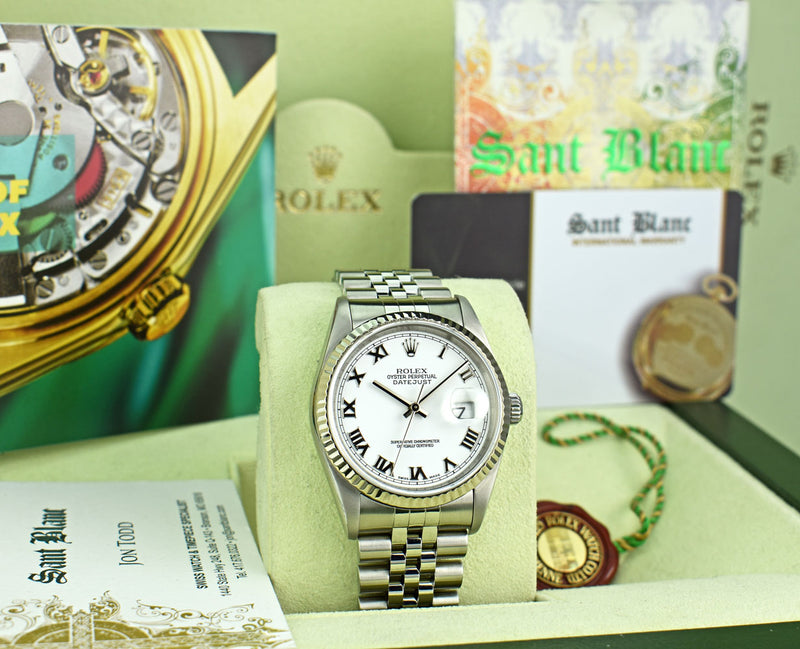 ROLEX 18kt White Gold & Stainless Steel Datejust White Roman Dial Model 16234