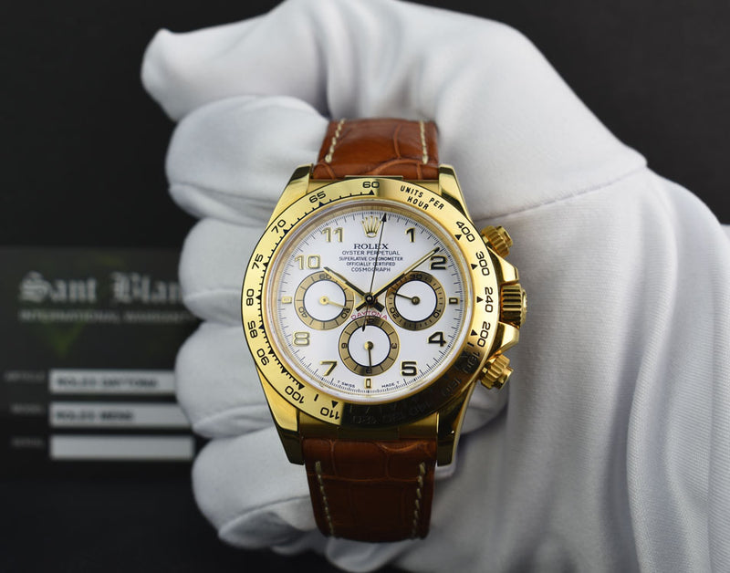 ROLEX - 18kt Gold Zenith Daytona - White Arabic Dial - Model 16518