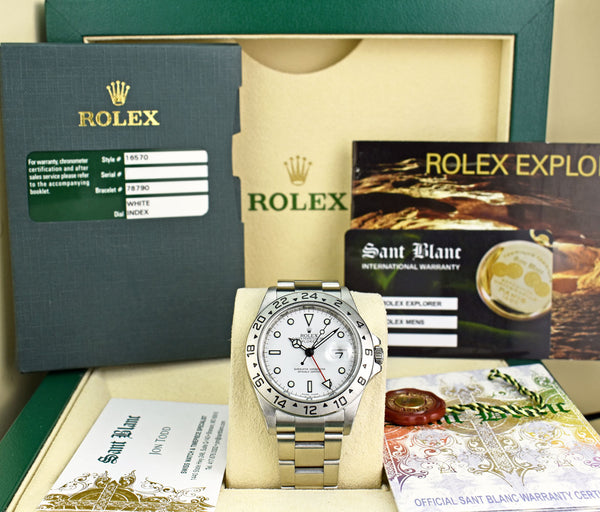 ROLEX Rehaut Mens 40mm Stainless Steel Explorer II White Dial Model 16570