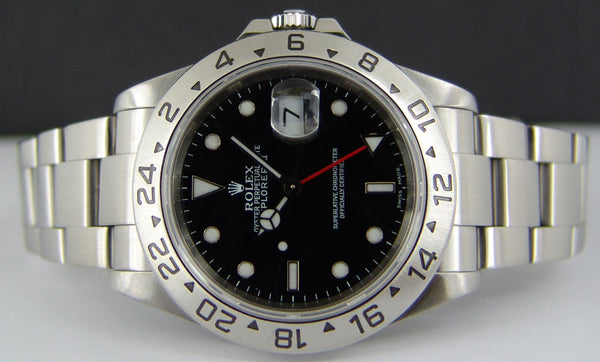 ROLEX Mens Stainless Steel Explorer II Black Index Dial SEL Model 16570