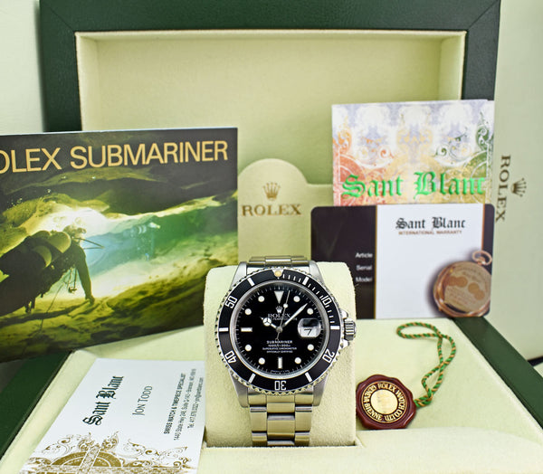 ROLEX Mens Vintage Stainless Submariner Black Dial with Box & Books Model 16610