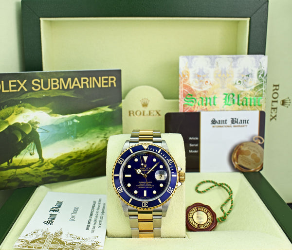ROLEX 18kt Gold & Stainless Steel Submariner Indigo Blue Dial No Holes Model 16613