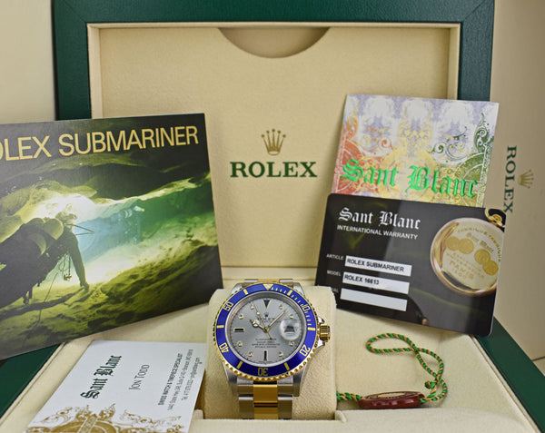 ROLEX - REHAUT 18kt Gold & Stainless Submariner Silver Serti Diamond 16613