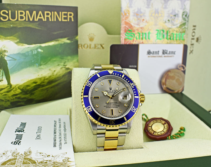 ROLEX 18kt Gold & Stainless Steel Submariner Silver Serti Diamond Dial SEL Model 16613