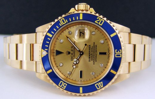 ROLEX Mens 18kt GOLD Submariner Champagne Serti Dial No Holes Model 16618