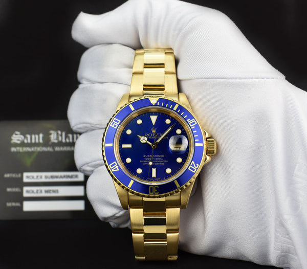 ROLEX 40mm Mens 18kt Yellow GOLD Submariner Blue Dial SEL Model 16618