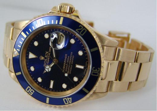 ROLEX 40mm Mens 18kt GOLD Submariner Blue Dial SEL Model 16618