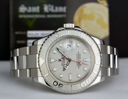 ROLEX Mens 40mm Platinum & Stainless Steel YachtMaster Platinum Index Model 16622
